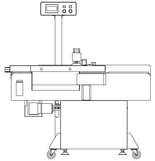 半自動ラベラーに商品搬送コンベア等を組み込んだ全自動ラベラー